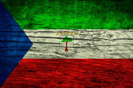 Vintage flag of Equatorial Guinea on wooden surface