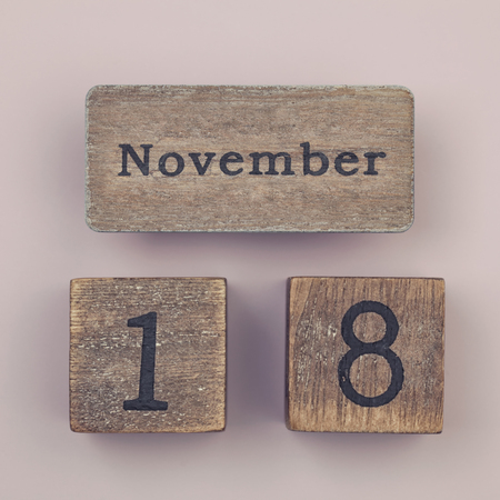 18 month old: Wooden vintage calendar showing the date 18th of November