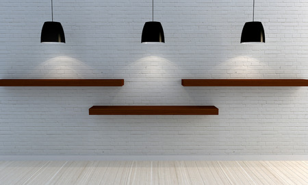 wall light: White brick wall with wooden shelves
