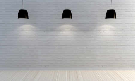 blank wall: White brick wall with wooden shelves