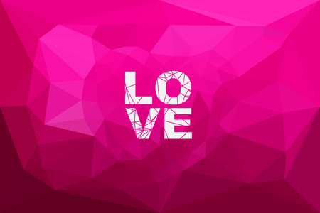 parametric: The illustration Love Pink color and Heart polygon Background design.