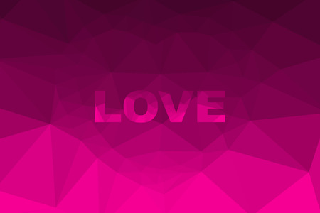 saturation: The illustration Love Pink color and Heart polygon Background design.
