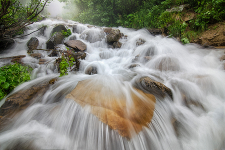 The waterfall at the Carpathian mountains