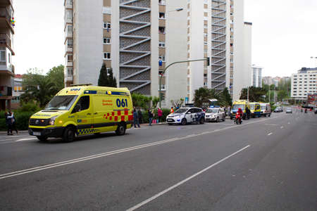 A Coruña-Spain.Spain ambulance car, emergency medical service in mission . Coronavirus worldwide outbreak crisis. Spread of the COVID-19 virus on May 10,2020 Editorial