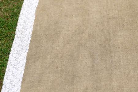 wedding carpet on green grass