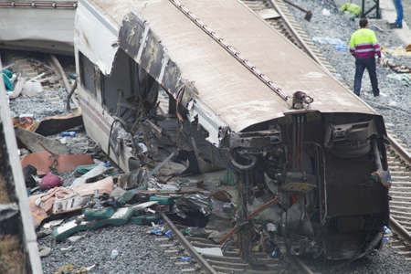 Santiago de Compostela, Spain.Alvia train accident on the Angrois curve, at the entrance of Santiago de Compostela causing the death of 80 people and 144 injured on July 25, 2013