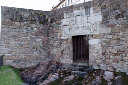 Wall and Door of 'San Miguel' built in front of the 'San Antón' castle Coruna, Galicia, Spain