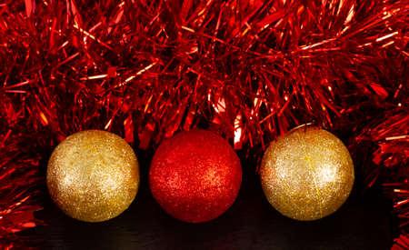 christmas decoration balls on slate plate