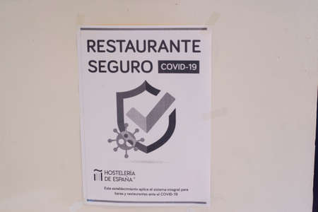 Poster indicating that the restaurant is safe against covid-19 certified by the Spanish hospitality association in Allariz, Spain on November 6, 2020