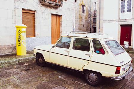 Renault 6 GTL model car parked in front of the mailbox in Allariz, Spain on November 6, 2020