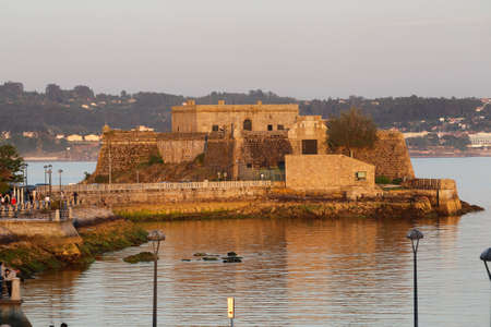 Coruña-Spain. San Anton Castle in La Coruña, in La Coruña at sunset on May 19,2020