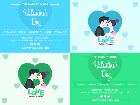 dj boy: Valentines Day Invite Card design with heart shape Boy and girl. Vector illustration