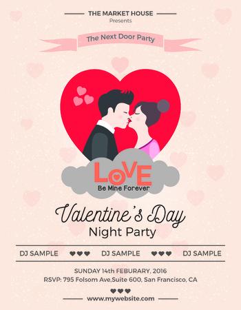발렌타인 데이 전단지 유용한 인쇄 발렌타인 데이 파티 준비 일러스트