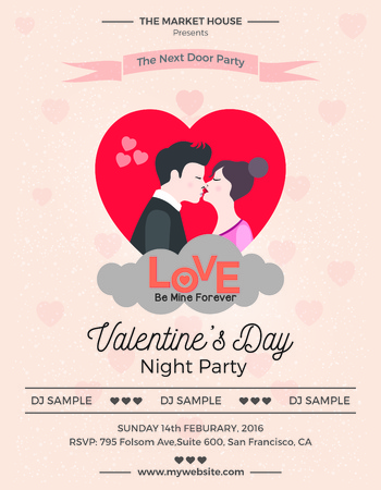 Valentines Day Flyer useful print ready for valentines day party Illustration