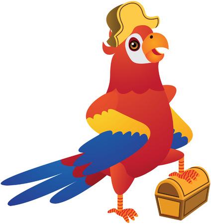 ara: Red Pirate Parrot Cartoon Illustration