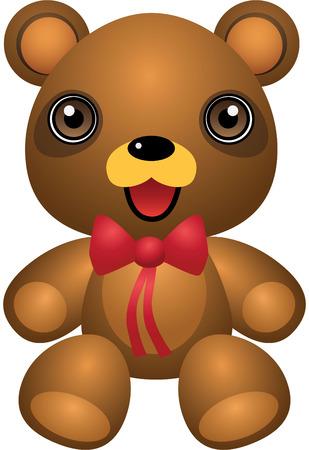 Teddy Bear Ribbon Vector Cartoon Illustration Vector