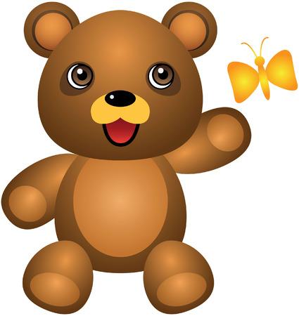 Teddy Bear And Butterfly Vector Cartoon Illustration Vector