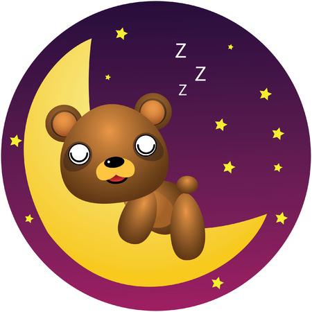 Teddy Bear Sleep Vector Cartoon Illustration Vector