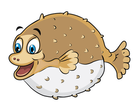 Puffer Fish Cartoon Illustration Vector