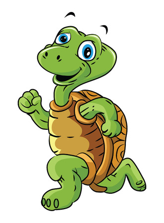 Turtle Run Cartoon Illustration Vector