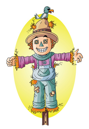 hay field: scarecrow