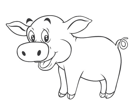 Black and white Pig Cartoon Vector
