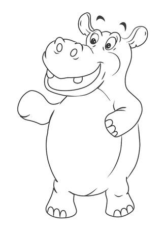 hipopotamo caricatura: Hippo Cartoon Ilustraci�n
