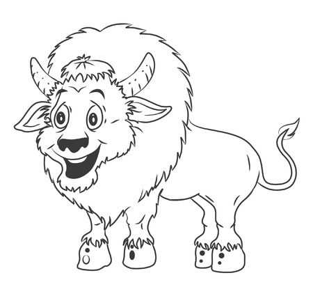 Bison Cartoon Illustration