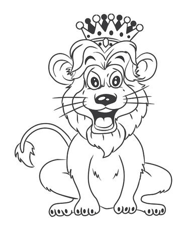 black and white Lion With Crown Cartoon Illustration Vector