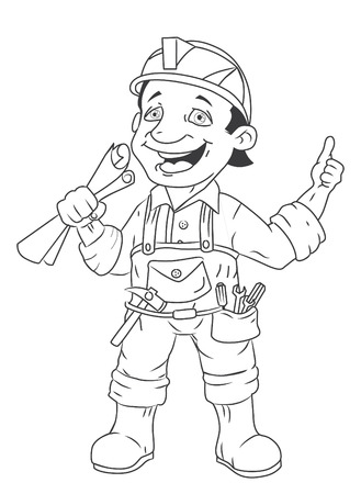 belt up: black and white construction worker