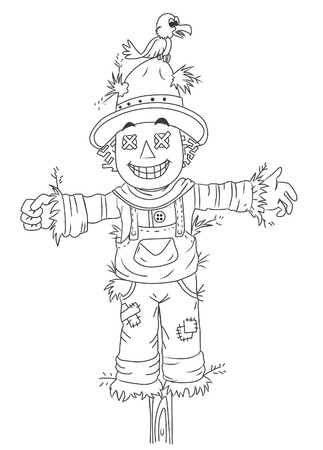 black and white scarecrow