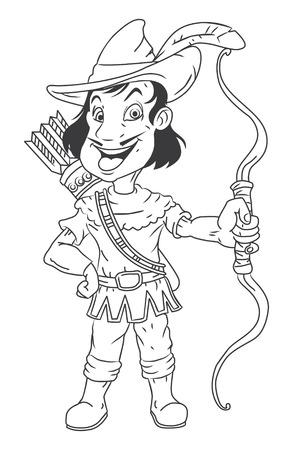 black and white Robin Hood Illustration