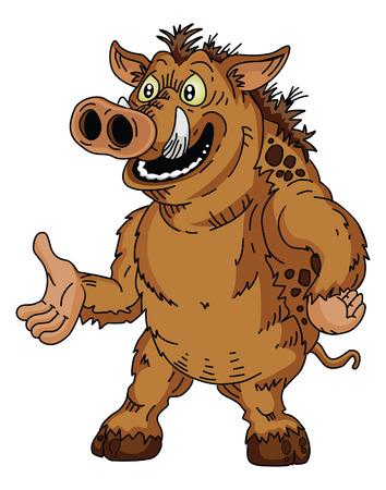 Wild boar cartoon Vector