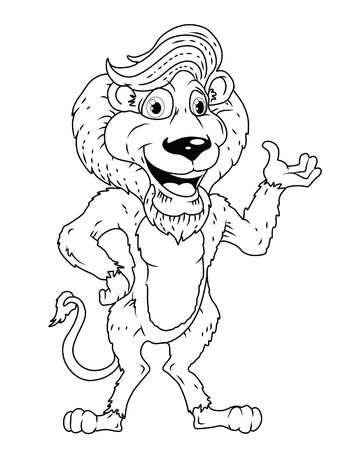 black and white lion Vector