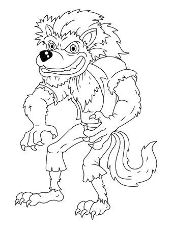 Black And White werewolf cartoon Vector