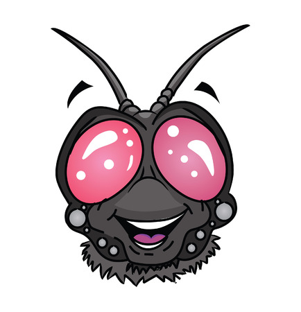 musca: fly insect head Cartoon