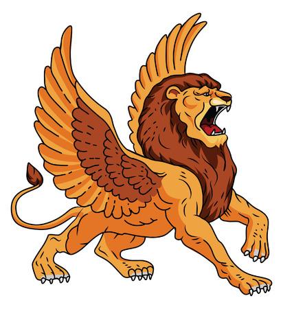 winged lion: Alas León Vectores