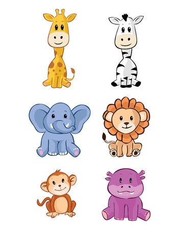 hipopotamo dibujos animados: Animal lindo del safari del bebé del juego Vectores