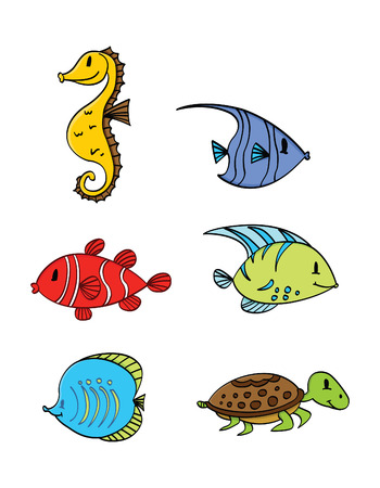 Sea Under Water Animal Collection Vector