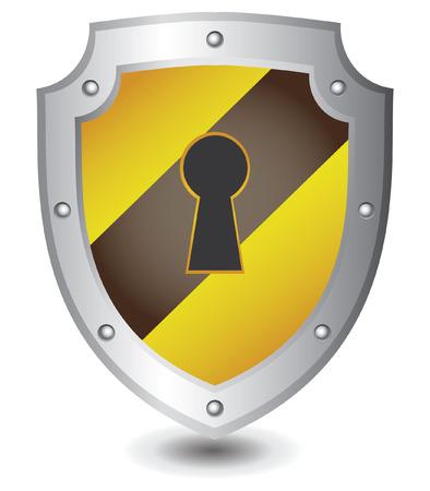 Vector illustration of Yellow black lock shield : Security concept. Vector