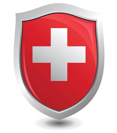 schweiz: Vector illustration switzerland of shield : Attention concept.