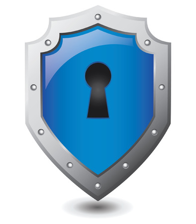 forbidden to pass: Vector illustration of Blue shield : Security concept.