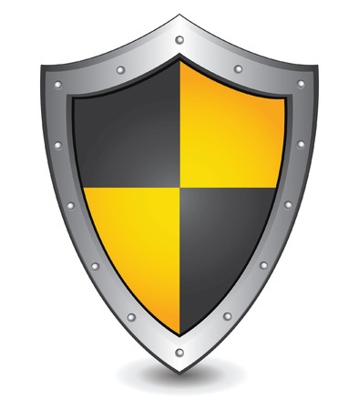 Vector illustration of black yellow shield : Security concept. Vector