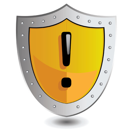 exclamation point: illustration of Yellow exclamation point shield : Attention concept.