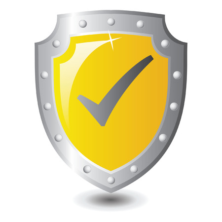 Vector illustration of Yellow shield : Right Winner concept. Vector