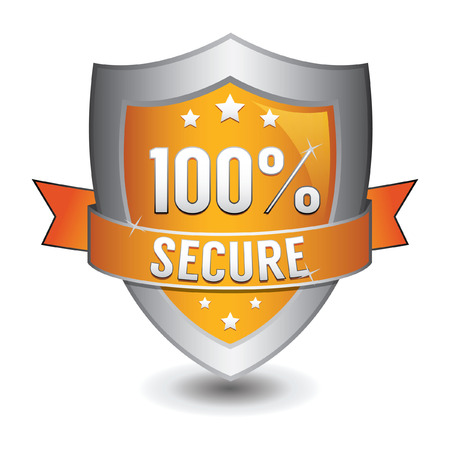 secured: 100% secured protection orange shield