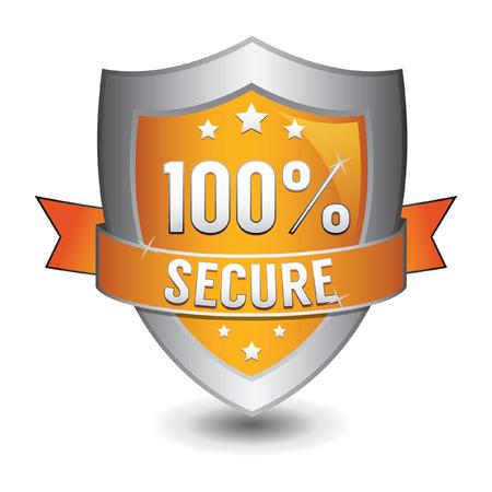 secured: 100% secured protection orange shield