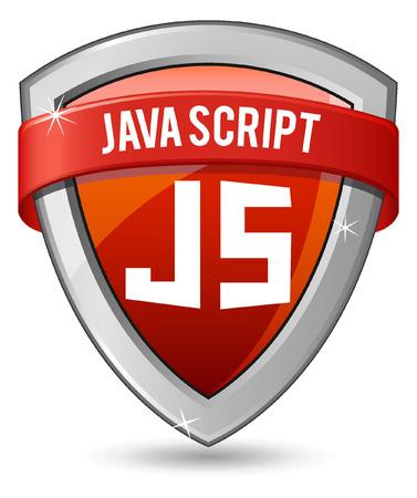 java script: Red shield java script Illustration