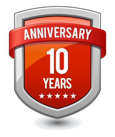 Red shield 10 years anniversary Vector