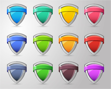 Full color glossy Shield Collection Vector